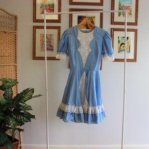Vintage Blue Puff Sleeve Dress XL